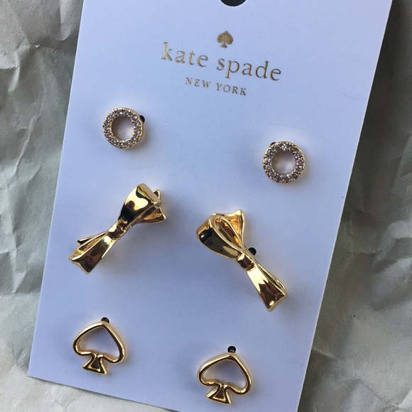 kate spade Jewelry - Authentic Kate Spade 3 Pieces Earrings Set